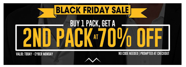 a7d966df0d2f7 This weekend only, take advantage of Black Friday pricing and upgrade the  rest of those shirts hanging in your closet! Buy any pack, and receive a  second ...