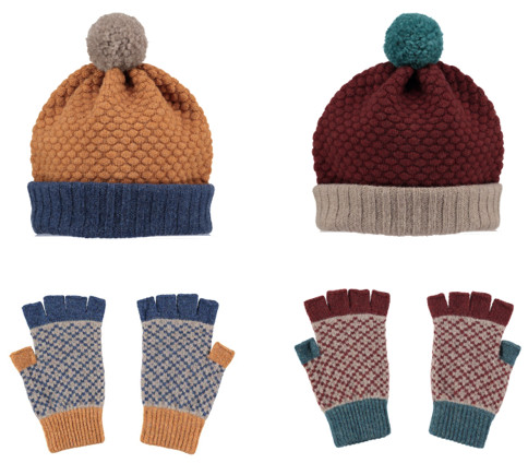 bc0d055f447 available at the National Theatre Bookshop. Lambswool Honeycomb Navy    Mustard   Cinnamon   Dark Green Bobble Hat ...