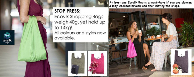 The Ideal Alternative To A Plastic Bag www.ecosilkbags.com.au FACEBOOK ECOSILK SHOPPING BAG$10.50 Size: 55cm/21.75″ Length x 32.5cm/12.75″ Width, expanding to 52cm/20.5″ with gusset. Special offer: A free bottle green drawstring […]