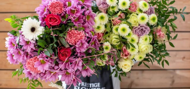 Left or Right! Left – Joyful, our bright and beautiful bouquet. This bouquet includes Blue Statice, Germinis, Carnations, Chrysanthemums and Lily La Orange. Right – Cerise, a pretty pink bouquet […]