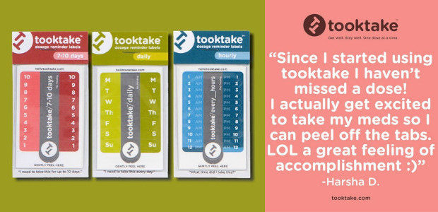 tooktake. Dosage Reminder Labels. Get well. Stay well. One dose at a time. www.tooktake.com tooktake dosage reminder labels were invented during chemo treatment for breast cancer. But what tooktake is […]